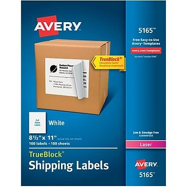 Avery 8 1 2 X 11 Laser Full Sheet Shipping Labels With Trueblock White 100 Box 5165 At Staples In 2020 Full Sheet Labels Avery Shipping Labels Avery Labels