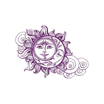 Decal House Sun and Crescent Moon Wall Decal Color: