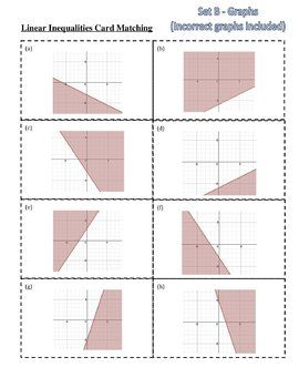 26 Two Variable Linear Inequalities Card Sort Graphs Solutions Linear Inequalities Sorting Cards Inequality