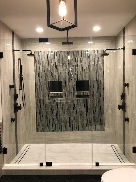 Completely Frameless Shower Enclosure With Flat Black Hardware Frameless Shower Enclosures Shower Doors Frameless Shower Doors