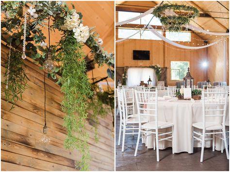 Reception and dinner decorations in barn | Oak Hills Utah Dusty Rose and Gray Summer Wedding | Jessie and Dallin Photography #utahwedding #utahsummerwedding #summerwedding #mountainwedding #rockymountainwedding #blushandgraywedding #blushandgray #oakhillsutah #utahweddingvenue
