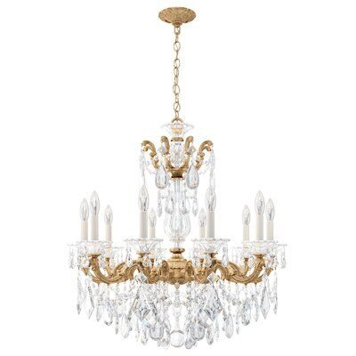 Schonbek La Scala 10 Light Candle Style Chandelier With Crystal