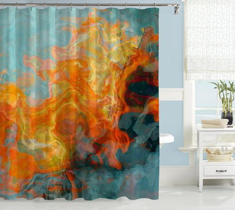 Abstract Shower Curtain Orange Yellow And Aqua Fire Water