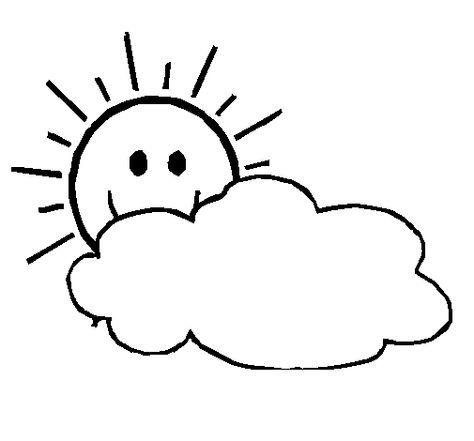 Dibujo De Sol Y Nube Sol Y Nubes Sol Para Colorear Dibujos De