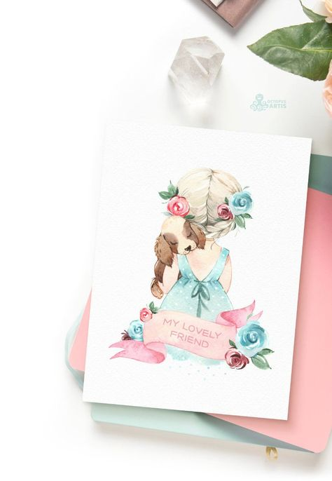 Little Spring. Lola & Puppy. Watercolor clipart, girl, doggy, easter, flowers, pink, delicate, baby