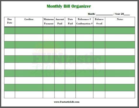 Free Printable Monthly Bill Organizer Bill Organization