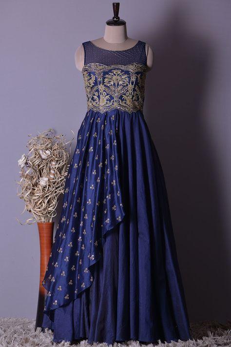 Buy Indigo Blue Silk Zardosi Embroidered Party Wear Salwar Kameez Online