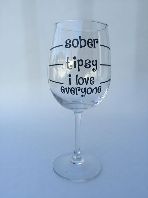 Levels of Drunk Funny Wine Glass  by SouthernCutsNCrafts on Etsy