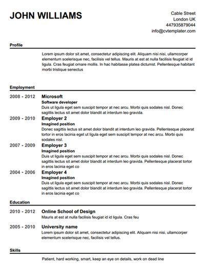 Create A Resume Free Templates
