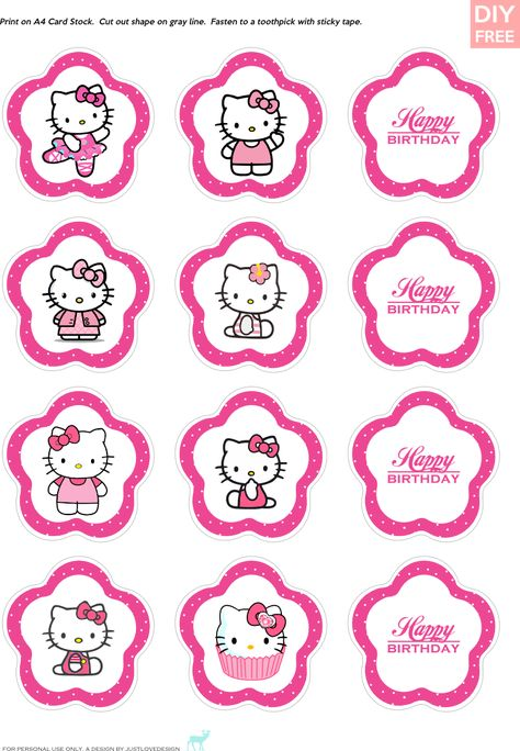 DIY Free Hello Kitty Cupcake Topper - JustLoveDesign