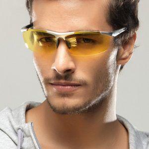Štýlové pánske polarizované okuliare pre šoférov na noc a do hmly-  strieborné  e5b498ce43f