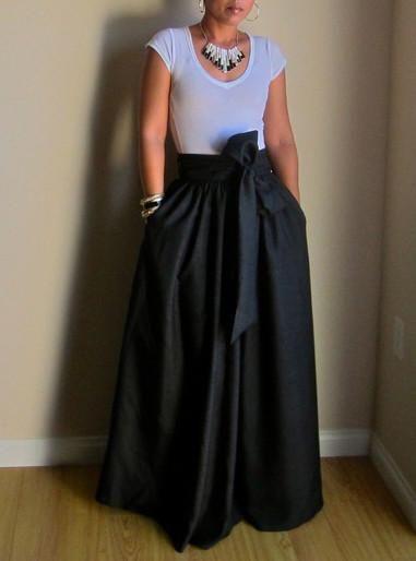 Bow Belt Maxi Skirt Maxi Skirt Maxi Skirt Dress Black Skirt Long