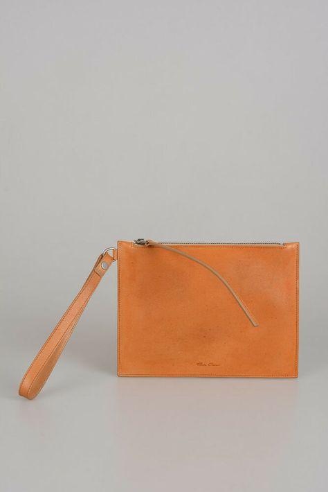 RICK OWENS New Unisex Brown Leather WRIST POUCH Small Purse Bag Handbag  Clutch  fashion   a871eb2702