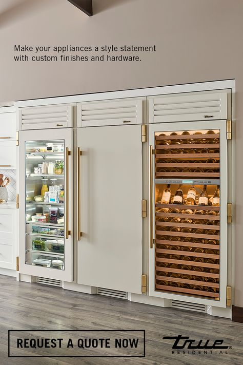 Achieve the ultimate customization in luxury refrigeration with True's Custom Finishes and Hardware options for its dynamic Columns. Picture here: Antique White + Brass--classic contrasts with elegant notes. Request your quote now. Home Decor Kitchen, Home Kitchens, Kitchen Design, Design Furniture, Home Living, Home Interior Design, Home Remodeling, Kitchen Remodel, Building A House