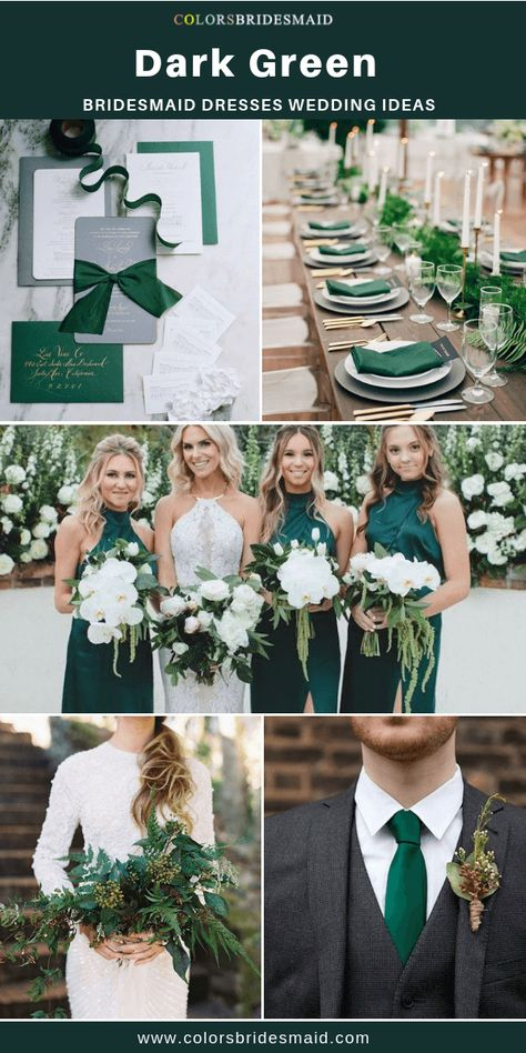 Wedding Styles Dark green bridesmaid dresses long and short, custom-made 500 styles, under all sizes and 150 color swatches, fast arrived.