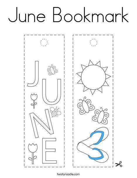 June Bookmark Coloring Page Twisty Noodle Coloring Pages Bookmark Holiday Lettering