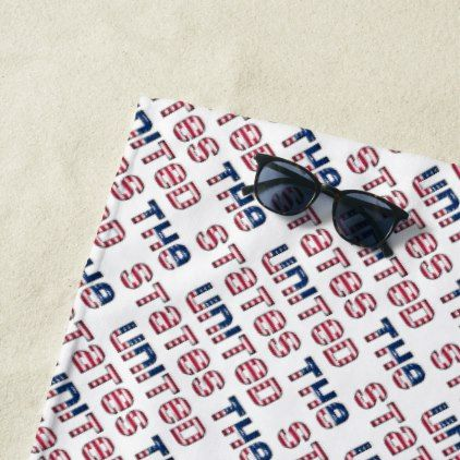 Usa The United States American Flag Typography Beach Towel