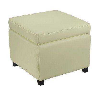 Jonathan Bicast Leather Cube Ottoman Color Off White White Leather Ottoman Storage Ottoman Leather Ottoman