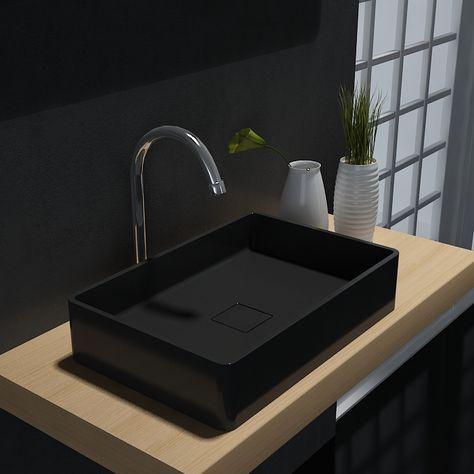 Rechteckiges Aufsatzwaschbecken Aqua PB2011B aus Mineralguss Farbe w/ählbar - 48 x 32 x 10,5 cm Mineralguss Waschbecken:Schwarz matt Solid Stone