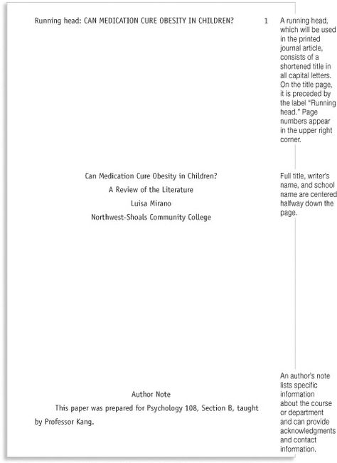 APA Style Research Paper Template   Marginal annotations indicate APA-style formatting.