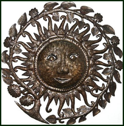 "Sun - Floral Border - Haitian Art Home Accent Wall Hanging - 34"" $159.95 -  Steel Drum Metal Art from  Haiti - Interior or Garden Décor   * Found at  www.HaitiMetalArt.com"