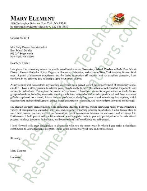 Elementary Teacher Cover Letter Sample  Letter Sample Cover