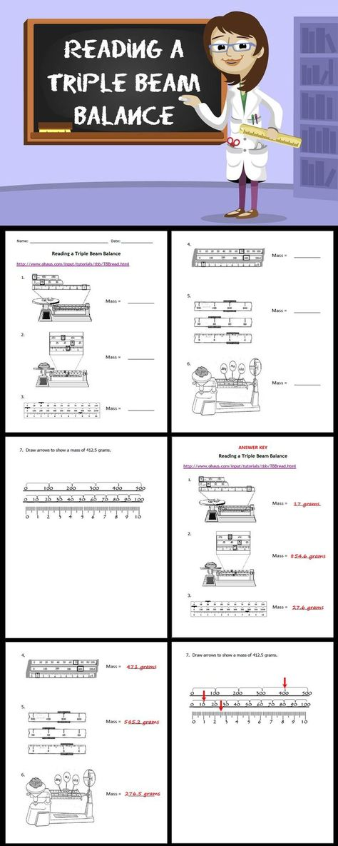 Triple Beam Balance Worksheet Problems Science Classroom Cafe Measuring Mass Worksheet And Flipchart Fre Science Skills Measuring Mass Science Classroom