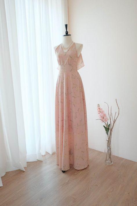 0b23ef6aed1d Nude pink dress Pink Bridesmaid dress Prom dress Lolita Wedding ...