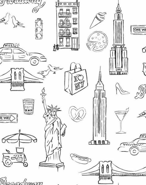 'NYC' Wallpaper by Nathan Turner - White - Wallpaper Roll