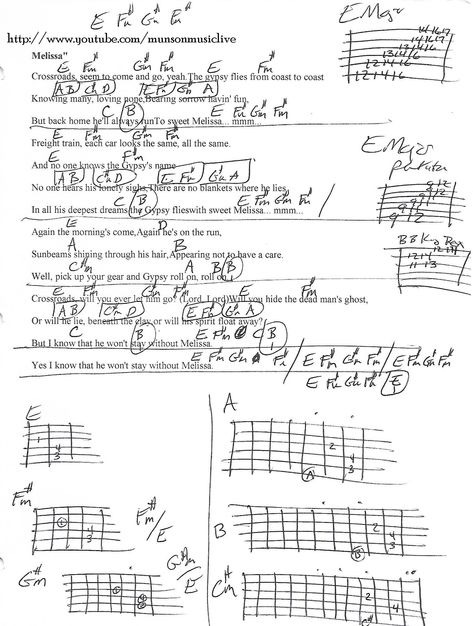 Melissa (Allman Brothers) Guitar Chord Chart | Tabs especiales ...