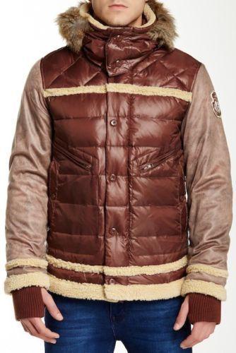 "Men`s JET LAG Down Filled Hooded Parka Size M 40/"" Red//Brown Puffer Jacket Coat"
