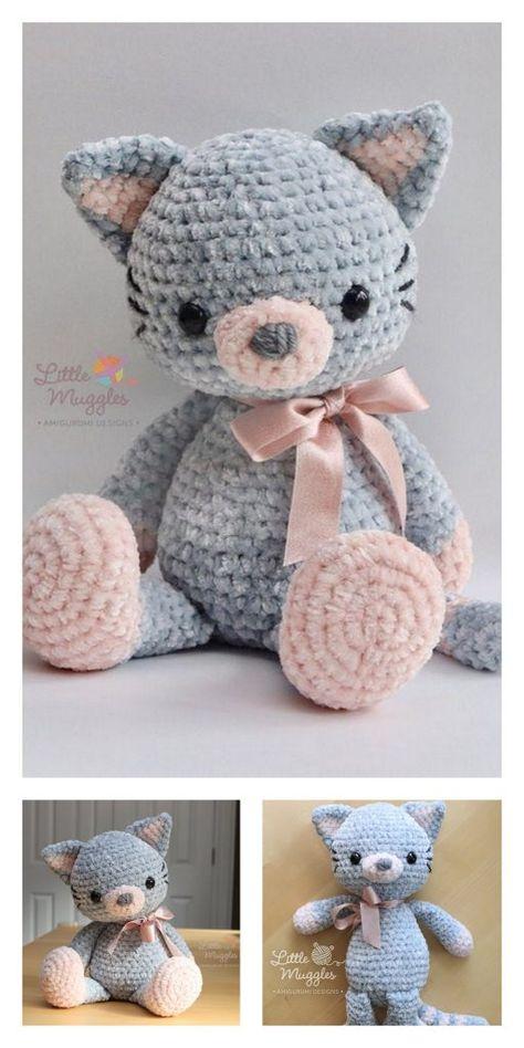 Educational and interesting ideas about amigurumi, crochet tutorials are here. Chat Crochet, Crochet Mignon, Crochet Animal Amigurumi, Crochet Teddy, Crochet Bear, Amigurumi Patterns, Crochet Animals, Crochet Dolls, Diy Crochet Toys