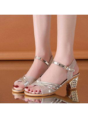 Fashion Women Buckle Mid Heel Sandals