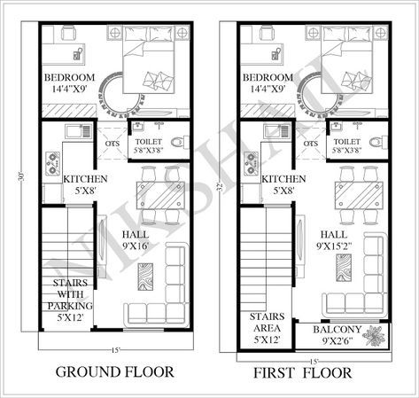 15x30 House Plan With 3d Elevation Option B Nikshail Home Design 20x40 House Plans 20x30 House Plans 30x40 House Plans