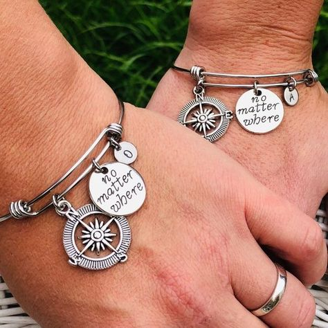 No matter where, Best friend bracelet, Friendship bracelet, Matching bracelets, Compass charm, Bangle bracelet set, Personalized gift, Gift