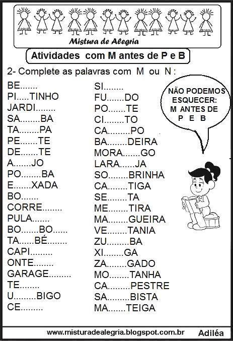 Atividades Com M Antes De P E B Atividades De Ortografia