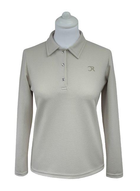 Polo golf femme sable manches longues, col polo simple, patte de boutonnage 3 pressions