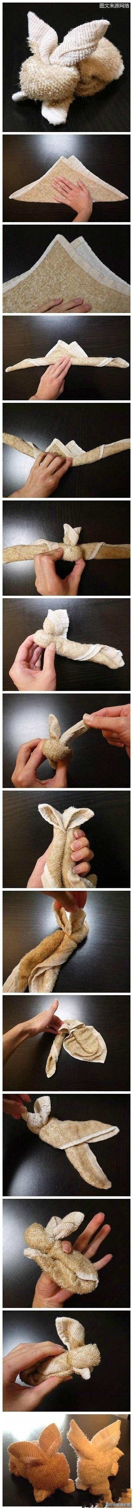 Towels Animals - Zwierzęta z ręczników - Origami z ręczników - rabbit - królik