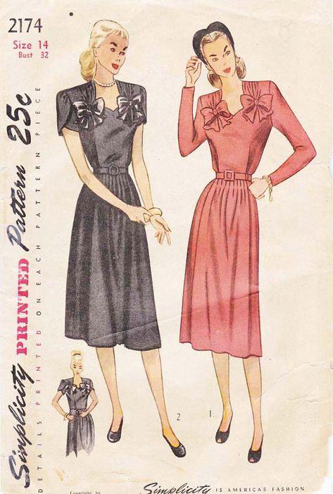 d4c4564550a80 Maternity Dress Pattern 1940s Adjustable Waistline Expansion Design ...