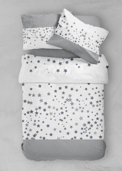 Housse De Couette Stars Gris Blanc 220x240cm 2 Personnes 100 Microfibre Housse De Couette Parure Housse De Couette Housse De Couette Blanche
