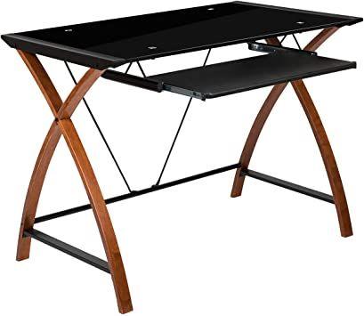 Glass Computer Desks Flash Furniture, Flash Furniture Black Glass Computer Desk With Pull Out Keyboard Tray