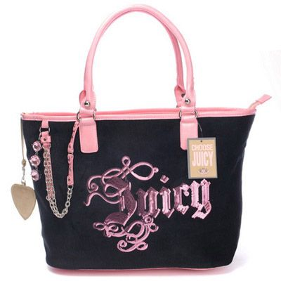 72ebf0c8e7f7 Juicy Couture Sequined Velour Tote Bag Black-Pink  73.70