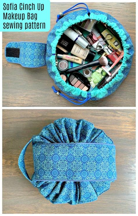 Makeup Bag sewing pattern. This cosmetics bag sewing pattern is such fun to sew and easy to make. It cinches up tight with a drawstring and a covering flap, then opens up wide for easy access to your makeup and toilettries. An easy bag to sew. Makeup Bag Sewing pattern. #EasySewingPattern #SewABag #BagSewingPattern #SewAMakeupBag #SewACosmeticBag #MakeupBagSewingPattern #CosmeticBagSewingPattern