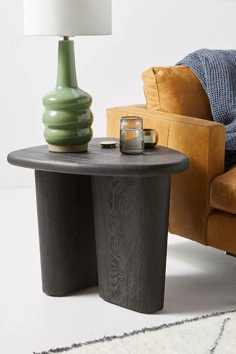 Kalle Sculptural Oak Side Table   Anthropologie