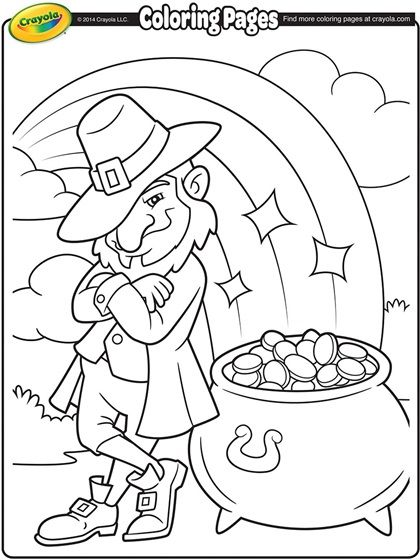Leprechaun S Pot Of Gold Coloring Page Crayola Com Free Coloring Pages St Patricks Coloring Sheets St Patrick S Day Crafts