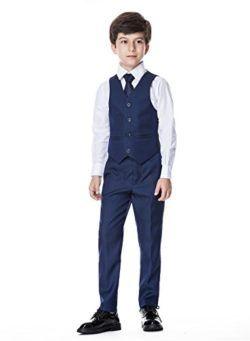 Boys Classic Formal Dress Suits Set 5 Piece Slim Fit Dresswear Suit