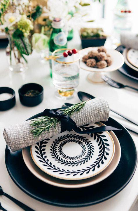 black, white & metallic table