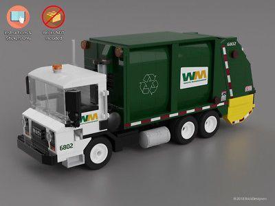 Custom Stickers Instructions To Build A Lego Mack Garbage Truck No Bricks Ebay Garbage Truck Rubbish Truck Classic Lego