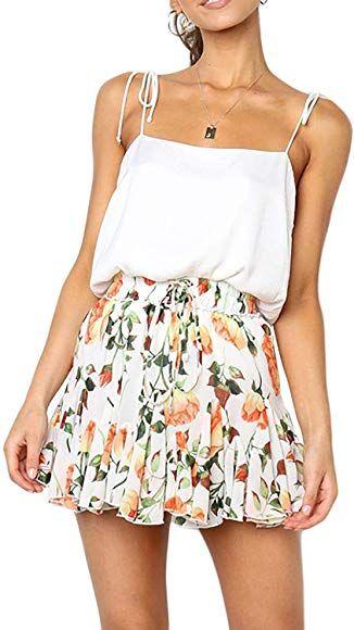 Miessial Womens High Waist A Line Mini Skirt Pleated Ruffle Cute Beach Short Skirt