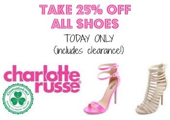 New Charlotte Russe promo code for 25% off ALL shoes! http://www.coupondad.net/charlotte-russe-promo-code/